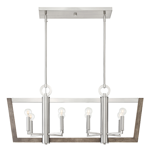 Westend Satin Platinum Eight-Light Chandelier