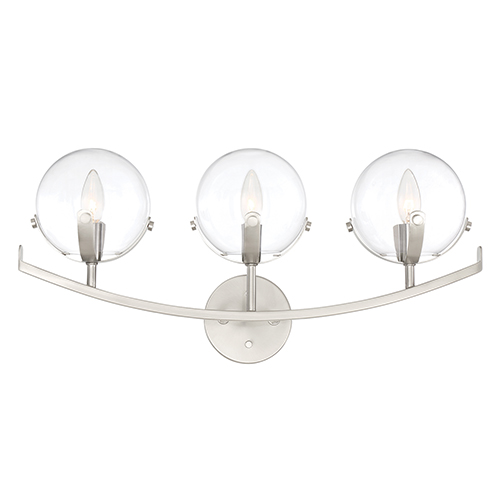 Spyglass Satin Platinum Three-Light Bath Vanity
