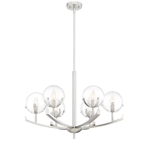 Spyglass Satin Platinum Six-Light Chandelier