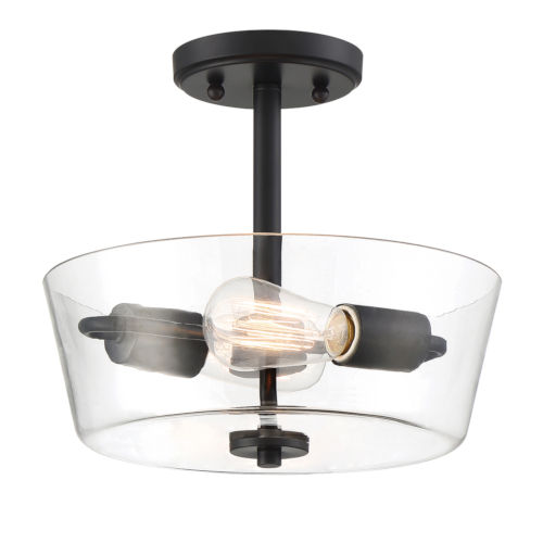 Westin Matte Black Two-Light Semi-Flush Mount with Clear Glass