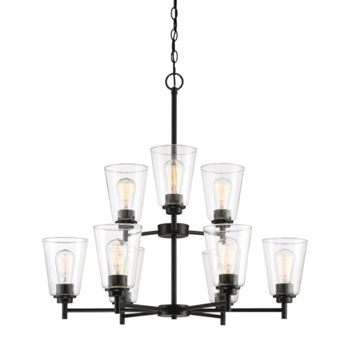 Westin Matte Black Nine-Light Chandelier with Clear Glass