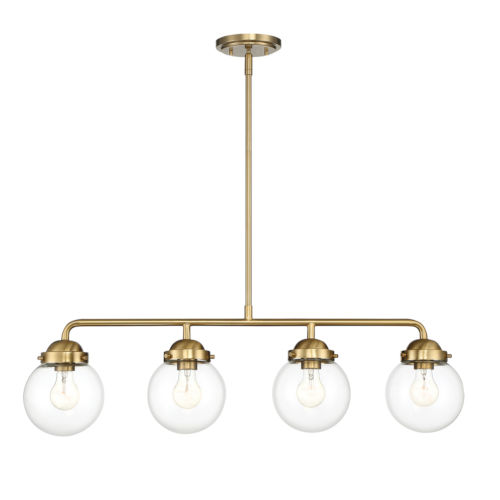 Knoll Brushed Gold Four-Light Island Pendant with Clear Glass