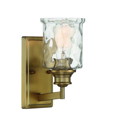 Drake Brushed Gold One-Light Wall Sconce with Clear Hammered Glass