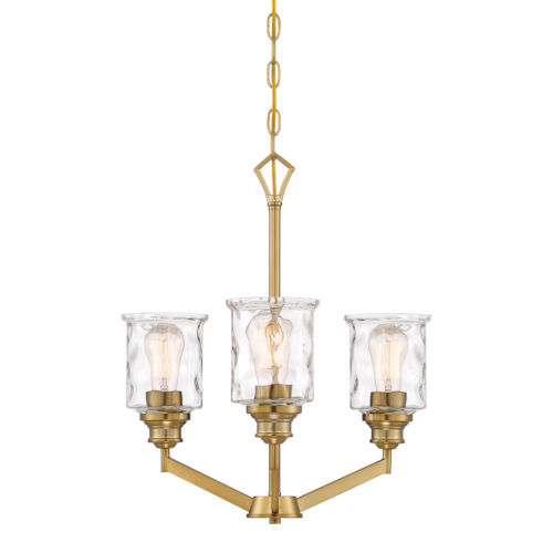Drake Brushed Gold Three-Light Chandelier with Clear Hammered Glass