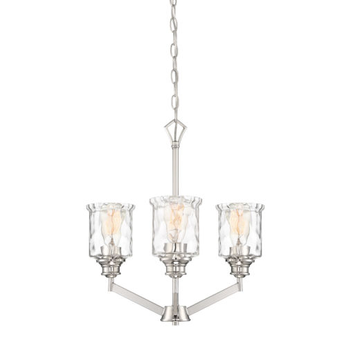 Drake Polished Nickel Three-Light Chandelier with Clear Hammered Glass