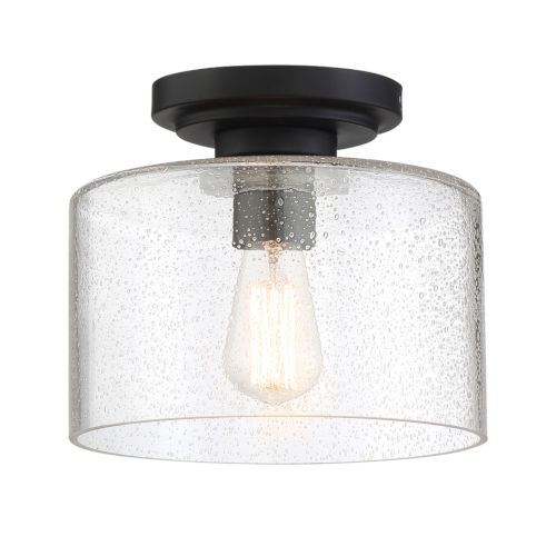 Logan Matte Black One-Light Semi-Flush Mount with Clear Seedy Glass