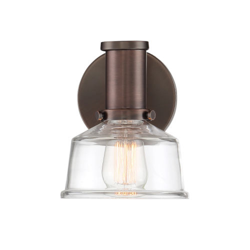Carson Satin Copper Bronze One-Light Wall Sconce with Clear Glass