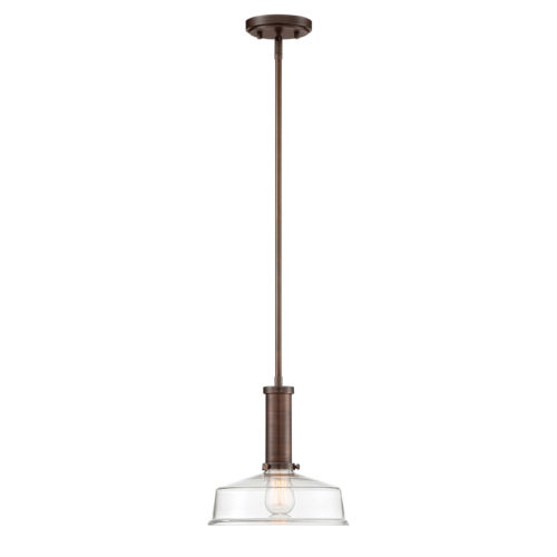 Carson Satin Copper Bronze One-Light Pendant with Clear Glass