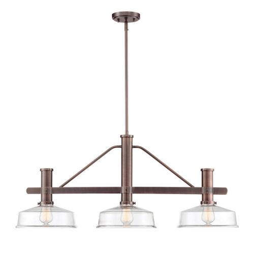 Carson Satin Copper Bronze Three-Light Island Pendant with Clear Glass