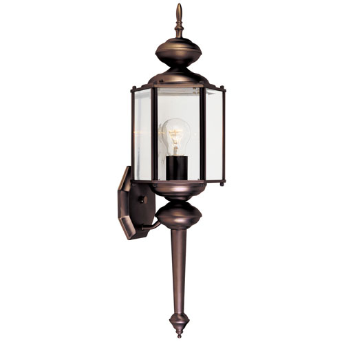 Designers Fountain Beveled Glass Lanterns Distressed Bronze One-Light Wall Lantern