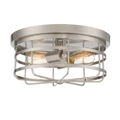 Tanner Satin Platinum Two-Light Flush Mount