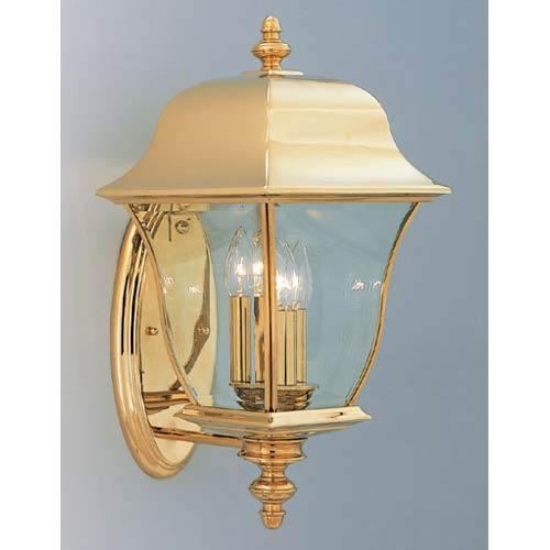 Gladiator Polished Brass Three Light Outdoor Wall Mounted Light