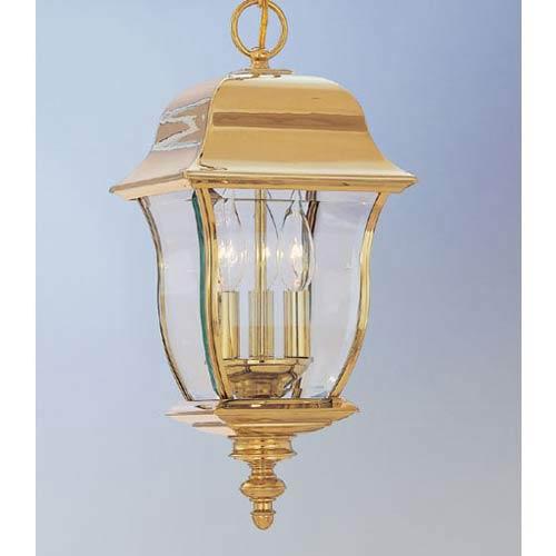 Gladiator Polished Brass Three-Light Outdoor Pendant