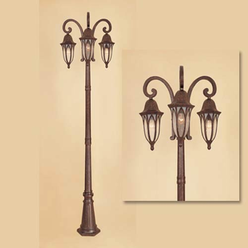 Berkshire Burnished Antique Copper Three Light Outdoor Post Light