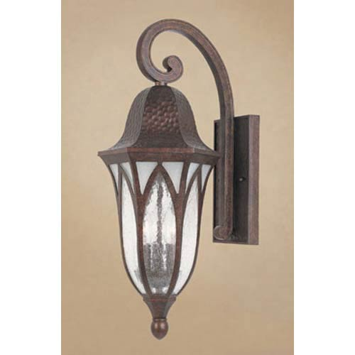 Berkshire Burnished Antique Copper Three-Light Outdoor Wall Mounted Light