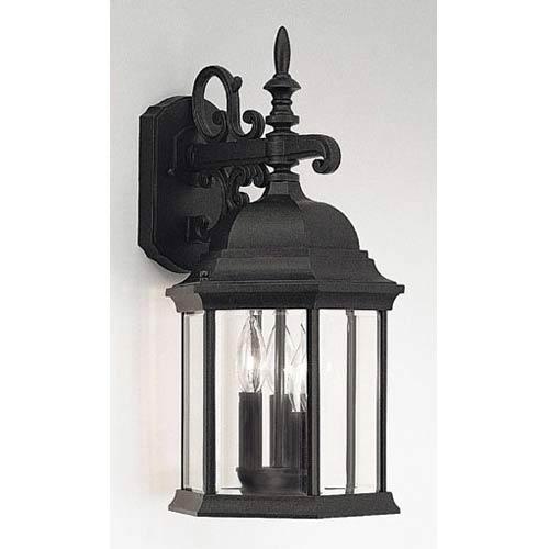 Devonshire Black Three-Light Outdoor Wall Mounted Light