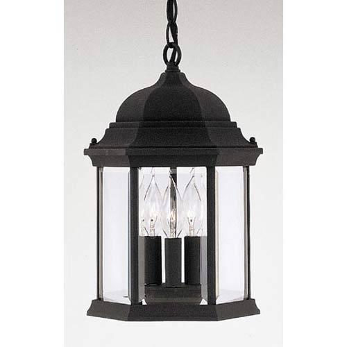 Devonshire Black Three-Light Outdoor Pendant