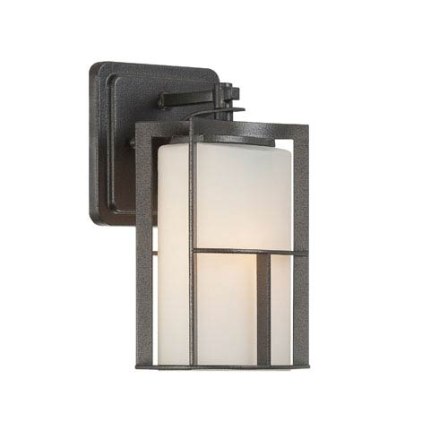 Designers Fountain Braxton Charcoal One-Light Outdoor Wall Mount with Frosted Glass Painted White Inside