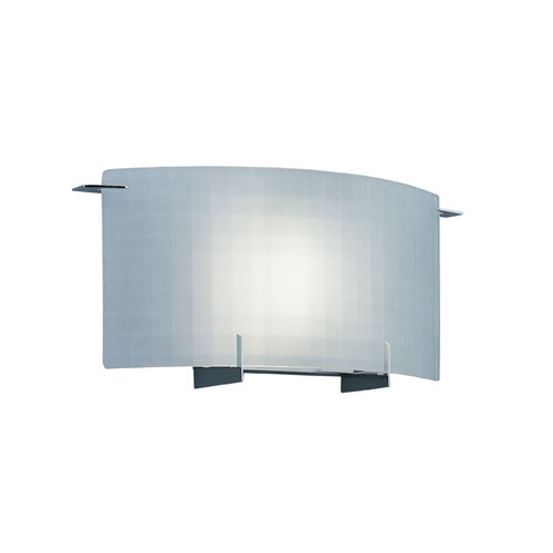 Moderne Chrome One-Light Wall Sconce with Frosted Glass