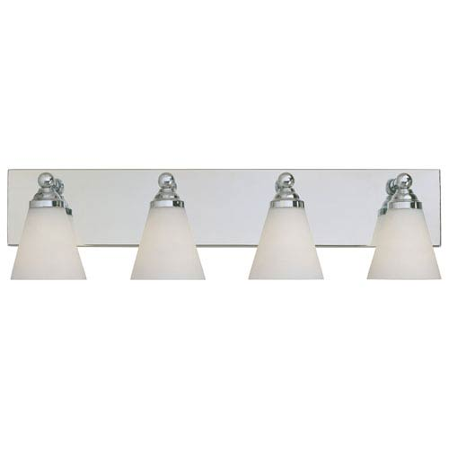 Designers Fountain Hudson Chrome Four-Light Bath Fixture with White Opal Glass