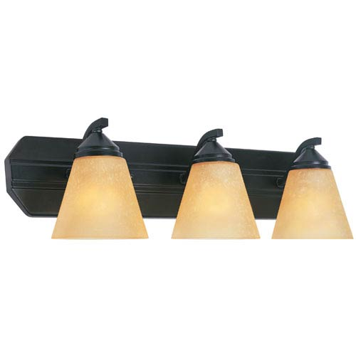 Designers Fountain Piazza Oil Rubbed Bronze Three-Light Bath Fixture with Goldenrod Glass
