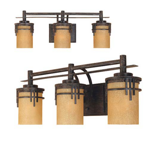 Mission Ridge Warm Mahogany Three-Light Bath Fixture