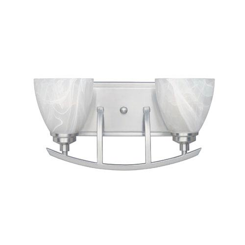 Designers Fountain Tackwood Satin Platinum Two-Light Bath Fixture with Alabaster Glass