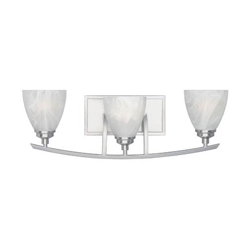 Designers Fountain Tackwood Satin Platinum Three-Light Bath Fixture with Alabaster Glass