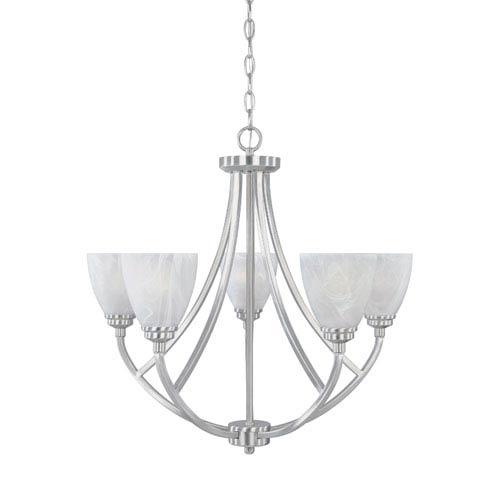 Tackwood Satin Platinum Five-Light Chandelier with Alabaster Glass