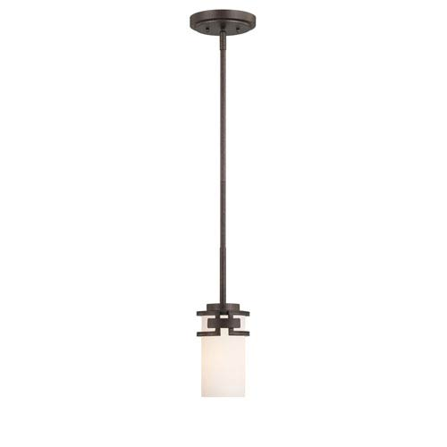 Del Ray Flemish Bronze One-Light Mini Pendant with White Opal Glass