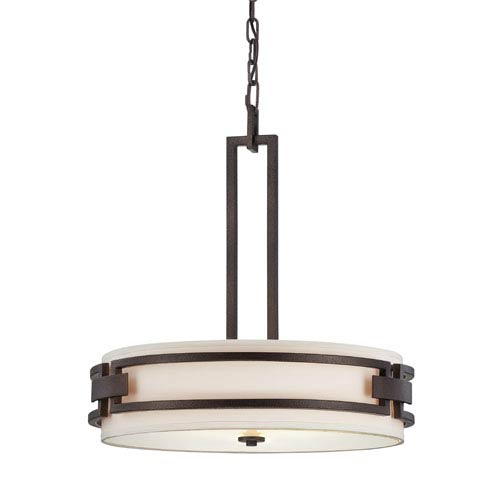 Del Ray Flemish Bronze Three-Light Pendant with White Fabric