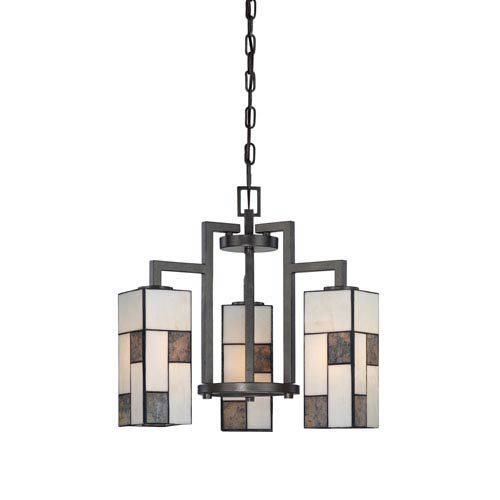 Designers Fountain Bradley Charcoal Three-Light Chandelier with Art Glass