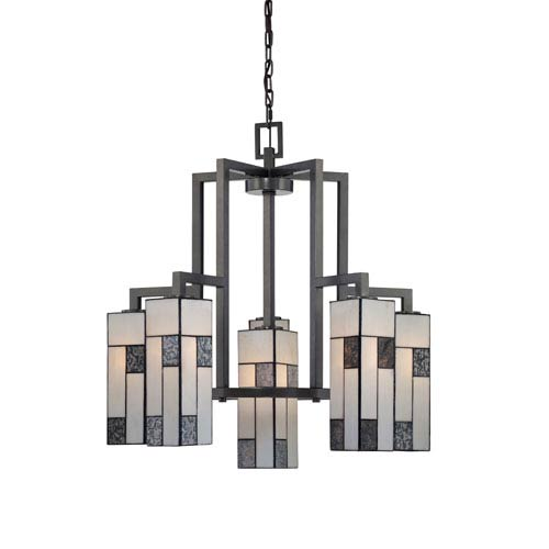 Bradley Charcoal Six-Light Chandelier with Art Glass