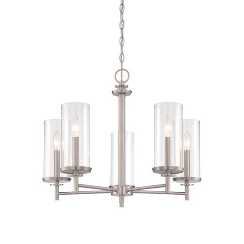 Harlowe Satin Platinum Five-Light Chandelier