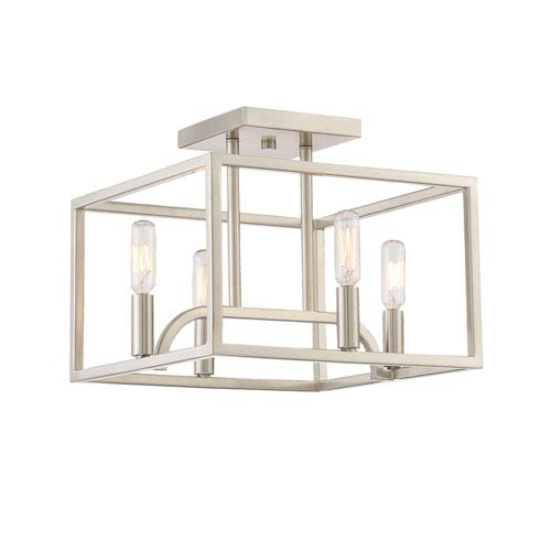 Uptown Satin Platinum Four-Light Semi-Flush Mount