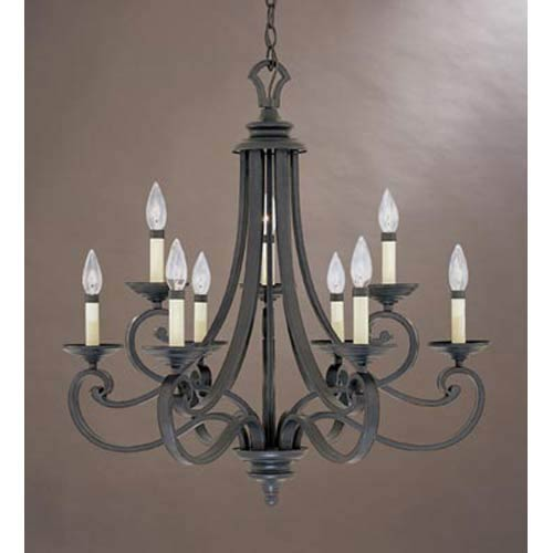 Messina Natural Iron Nine-Light Chandelier
