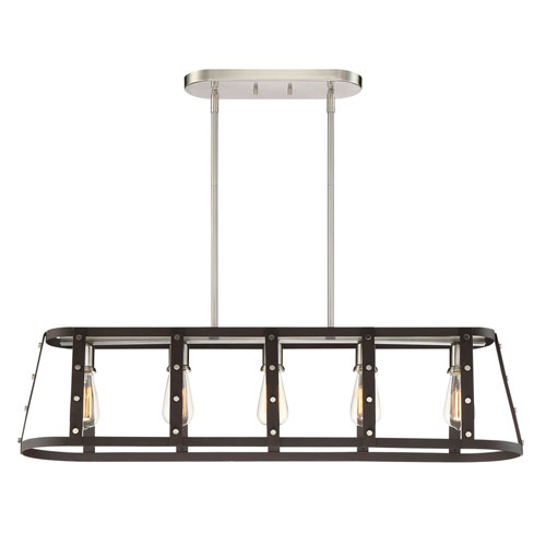 Designers Fountain Presidio Rustique Five-Light Linear Pendant