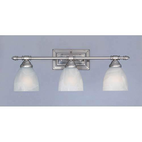 Apollo Satin Platinum Three-Light Bath Fixture