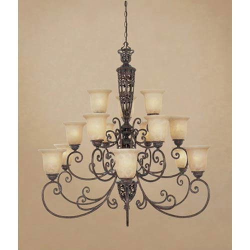 Amherst Burnt Umber Fifteen-Light Chandelier