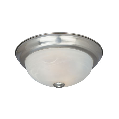 Designers Fountain Lunar Satin Platinum Two-Light Energy Star Outdoor Flush Mount with Alabaster Glass