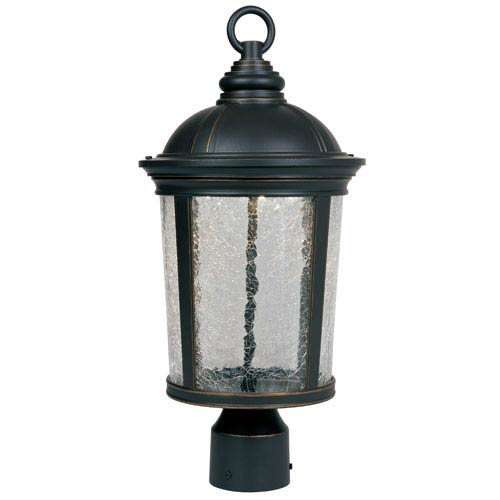 Designers Fountain Winston Aged Bronzed Patina LED Outdoor Post Lantern with Clear Crackle Glass
