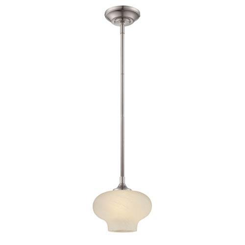 Eco-Gem Satin Platinum One-Light Mini Pendant with French Swirl Glass