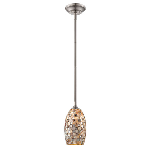 Designers Fountain Eco-Gem Satin Platinum One-Light Mini Pendant