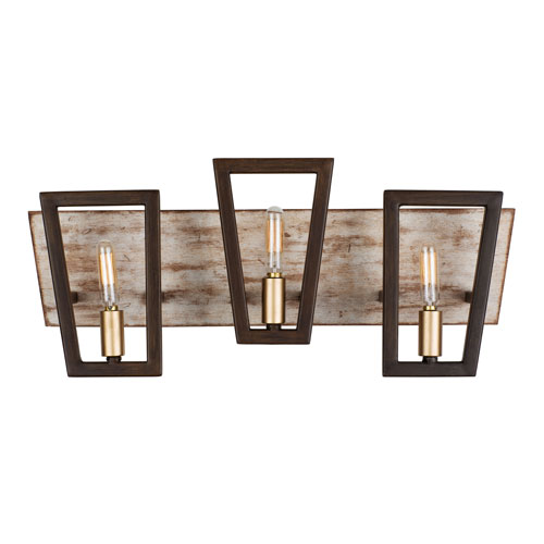 Varaluz Zag Dark Oak and Whitewash Three-Light Bath Vanity
