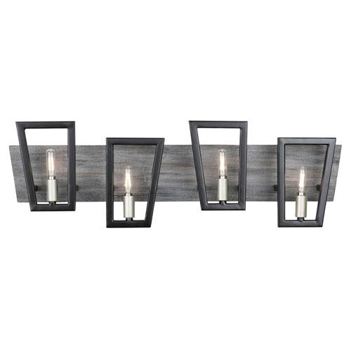 Zag Black and Gray Wood Four-Light ADA Bath Vanity