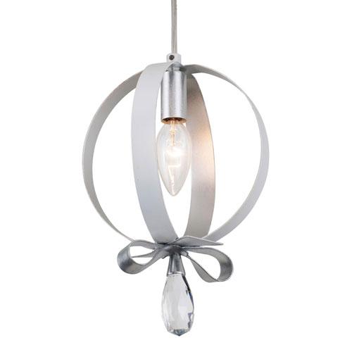 Varaluz Posh Pearl and Silver Leaf Seven-Inch One-Light Mini Pendant