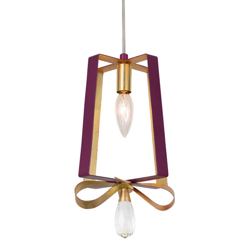 Posh Plum and Gold Leaf Seven-Inch One-Light Tall Mini Pendant