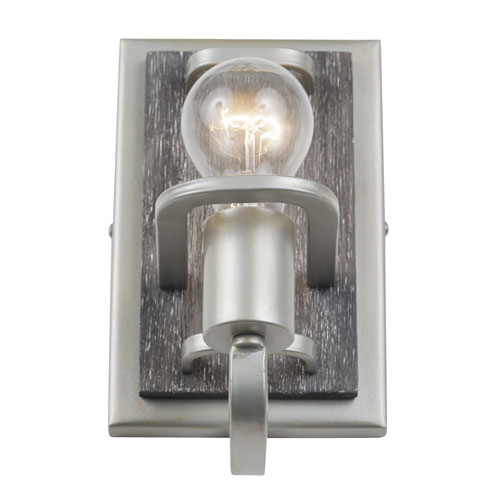 Lofty Silverado and Gray Wood One-Light Bath Sconce