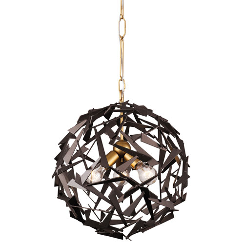 Varaluz Bermuda Antique Gold and Rustic Bronze Three-Light Pendant