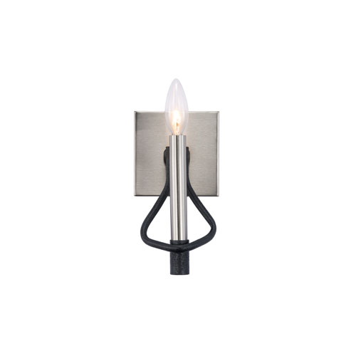 Varaluz To Circuit with Love Textured Black and Brushed Nickel One-Light Bath Sconce